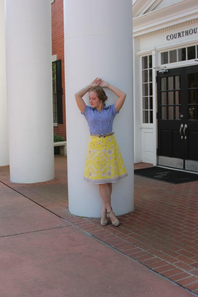 Shirt: Express Skirt: KLD Signature Belt: Betsey Johnson Shoes: Nine West