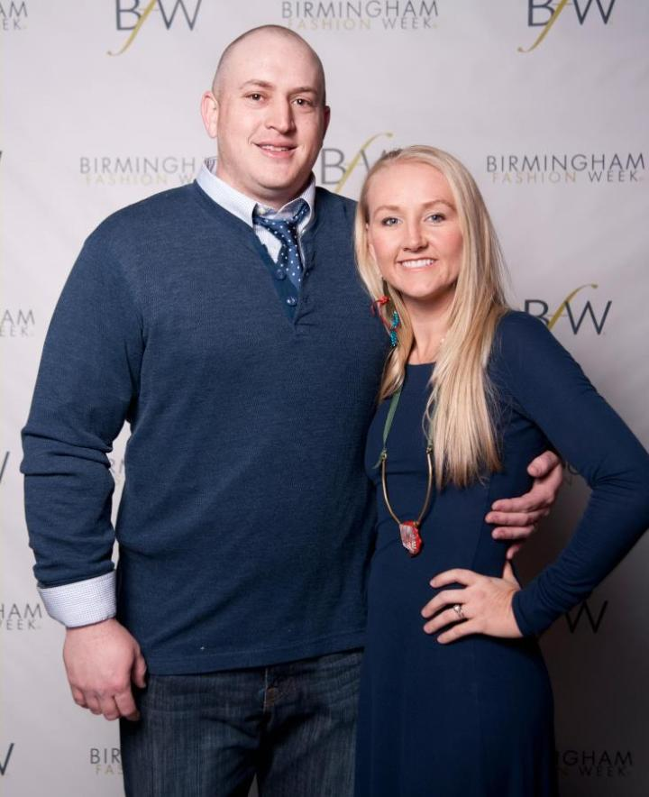 Heidi Elnora posing with her husband Jeff Baker at the BFW 2012 Kick Off Party. PHOTO CREDIT TO CHUCK ST. JOHN