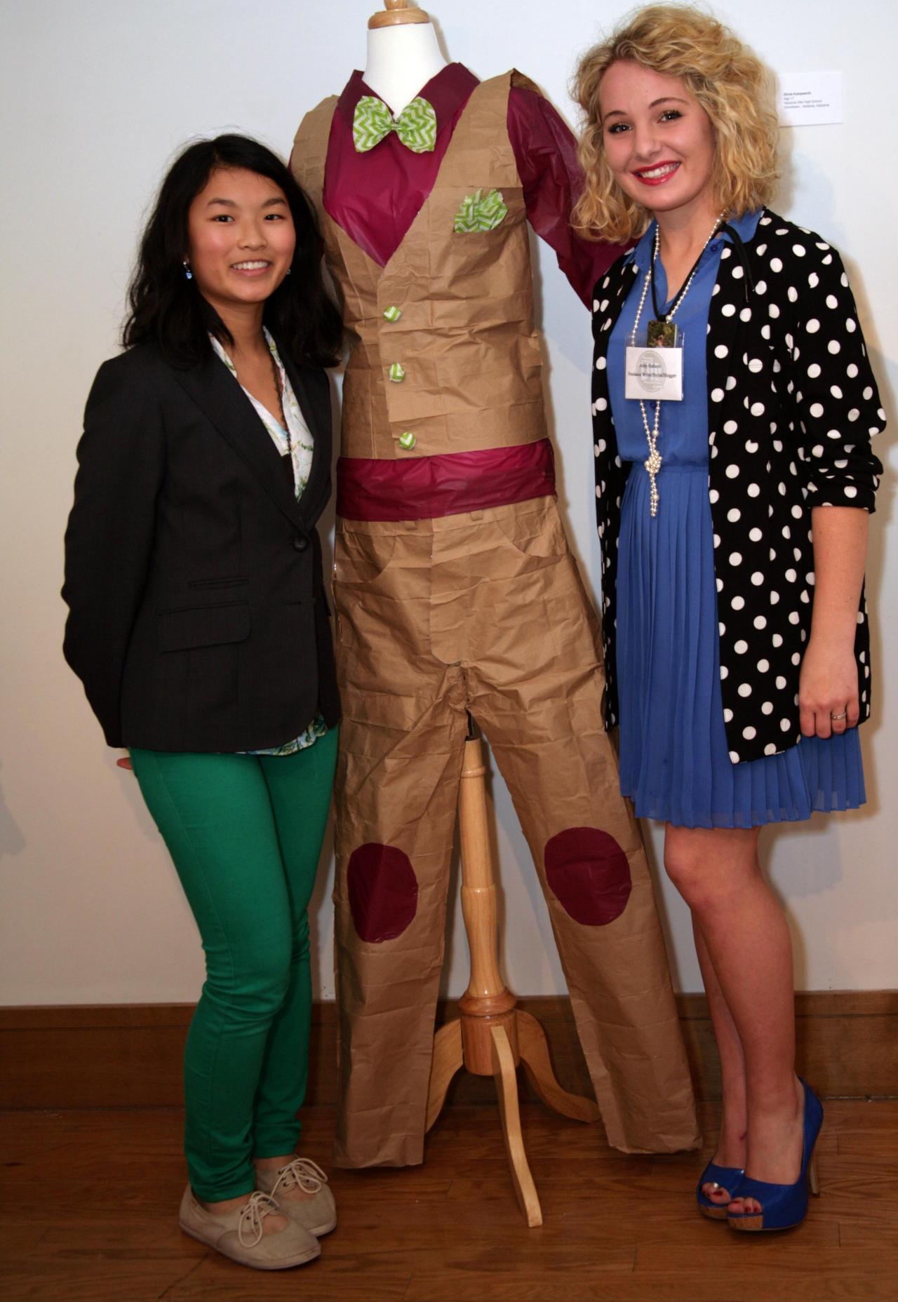 This creative suit was designed by Odelia Huang (age 14) of Pizitz Middle School. I love the green bowtie-terrific accent!