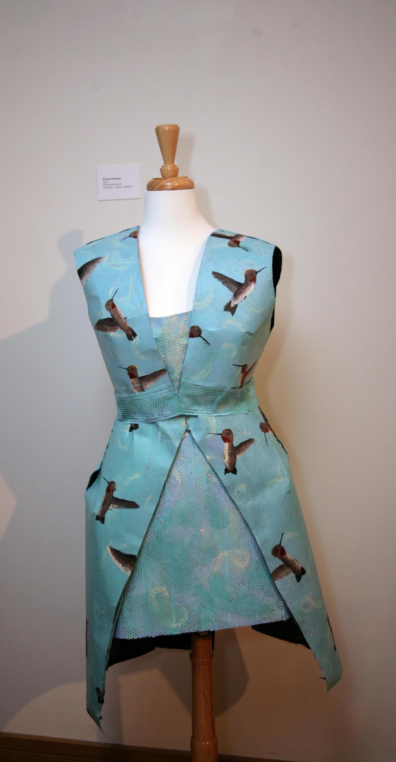 What a humdinger of a frock! This lovely hummingbird dress was designed by Bradford Billingsly (age 11) of Pizitz Middle School.