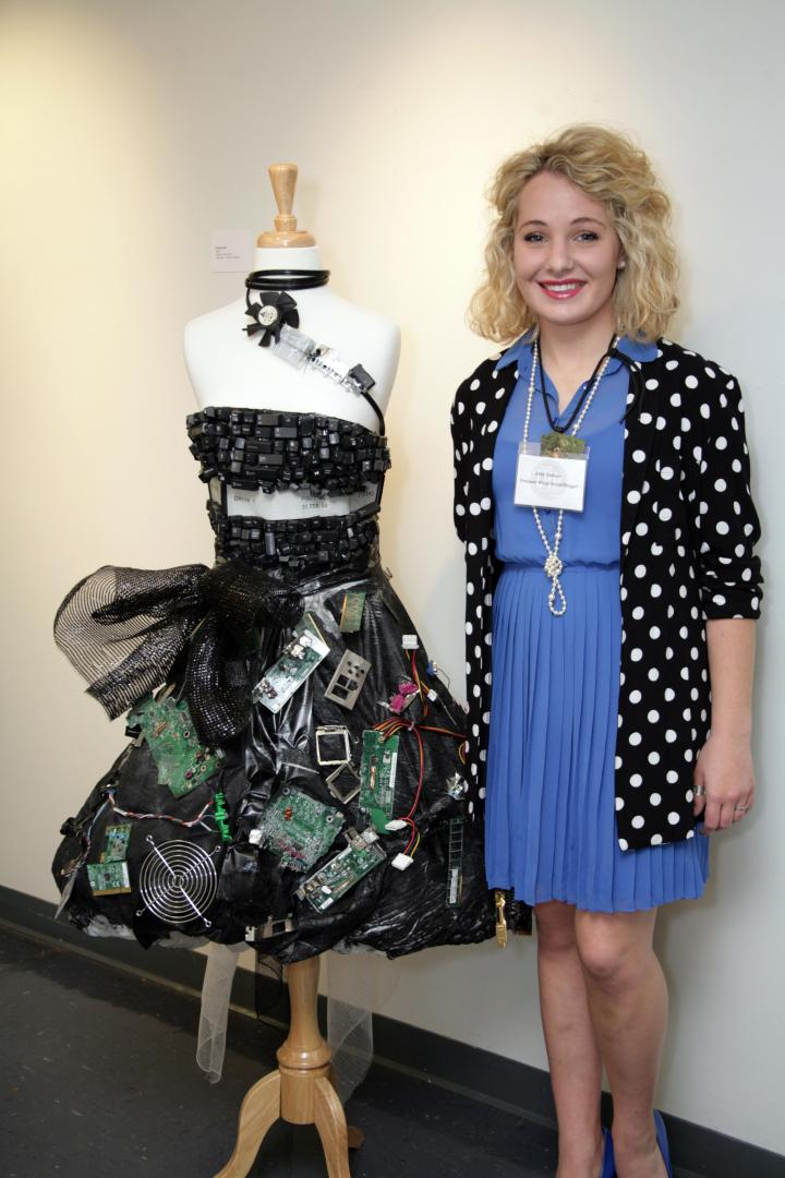 I posed with Peyton Boyd's (age 17) techno-savvy art piece at the reception. I am truly wowed by the concept of this fantastic frock!