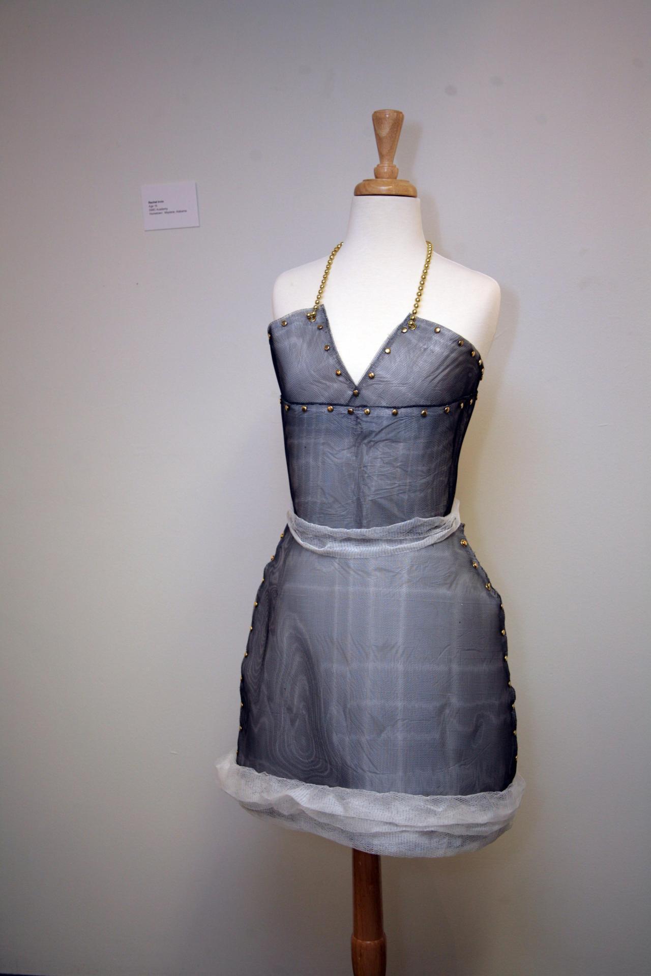 Rachel Irvin of SMIC Academy created this sleek silver dress. I love the fabulous neckline!