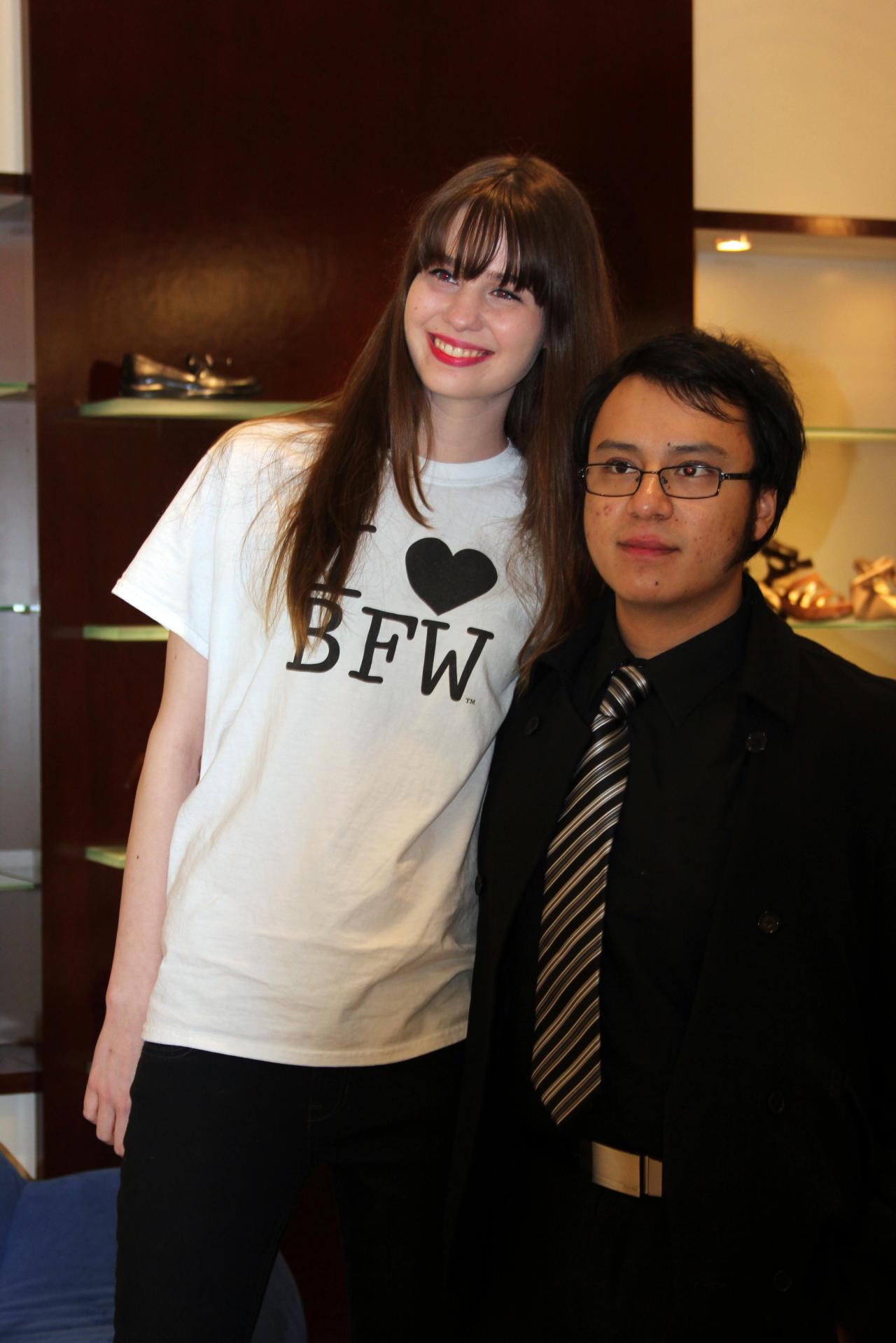 The lovely Leah Burns posing with a dashing fellow at the BFW kick off party.