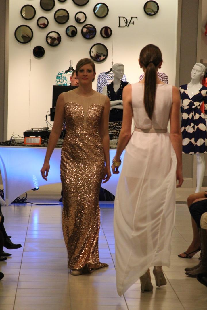 Megan Kaple's designs walking the runway at the Sak's Emerging Designer Reveal. I am in love with both frocks!