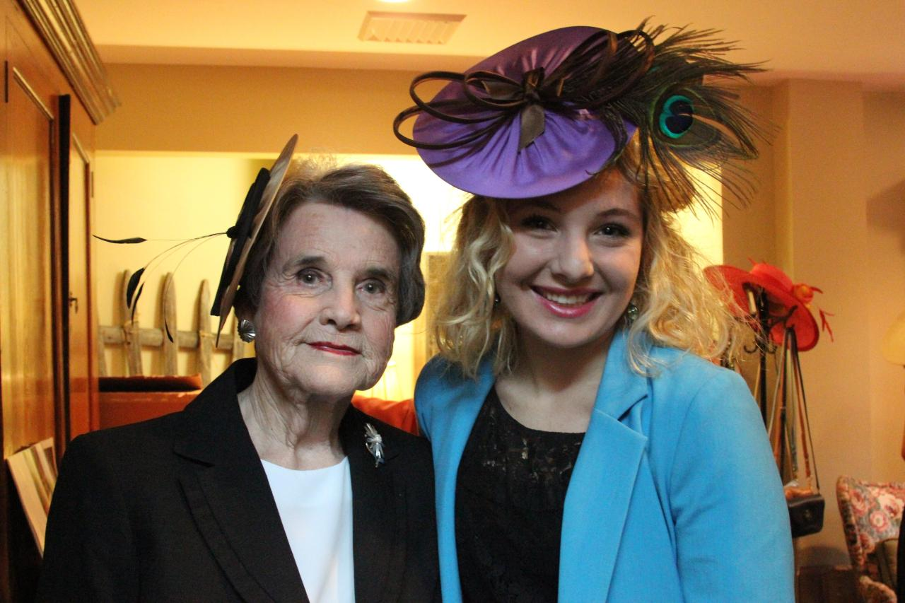 Harvilee Harbarger  (wearing a replica of the hat Katy Perry wore in InStyle Magazine) and I at the Affair of the Hat event at the Huntsville Botanical Gardens! Doesn't she look stunning!