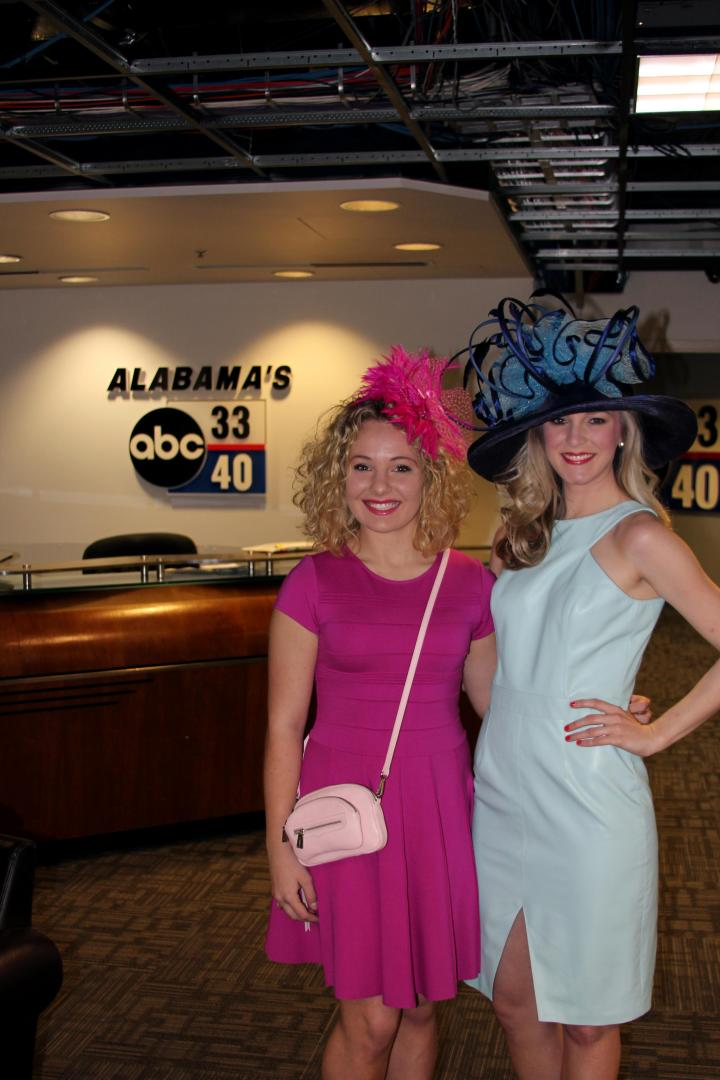 "Sara McKnight, my lovely model for the TV segment, and I all dolled up and ready for ""Talk of Alabama""! We both sported amazing fashions that are available at Gus Mayer (Birmingham, AL)!"