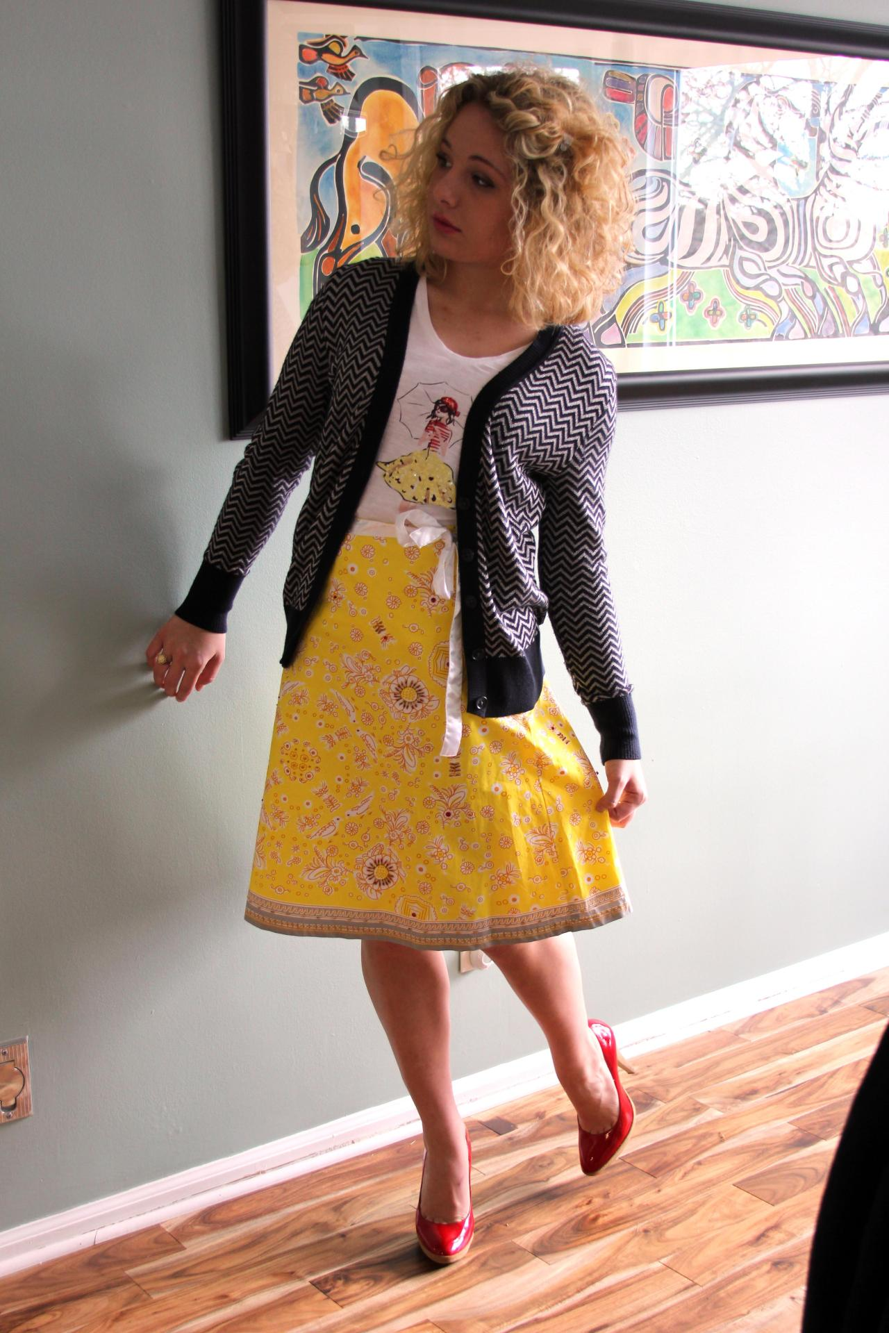 Cardigan: Banana Republic, Shops of Grand River (Leeds, AL)Shirt: The Loft, Shops of Grand River (Leed, AL)Skirt: JCrewHeels: Nine West