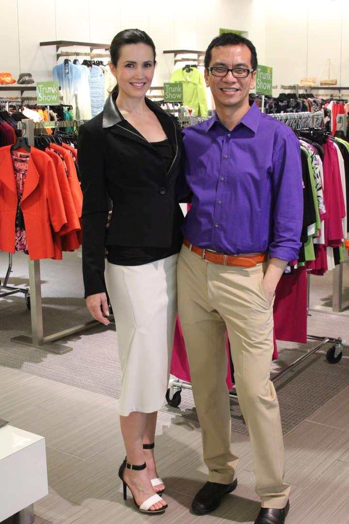 Joeffer Caoc with model, Danielle Yancey, at Gus Mayer in Birmingham Alabama. Want that snazzy business woman ensemble by Joeffer? Click here.