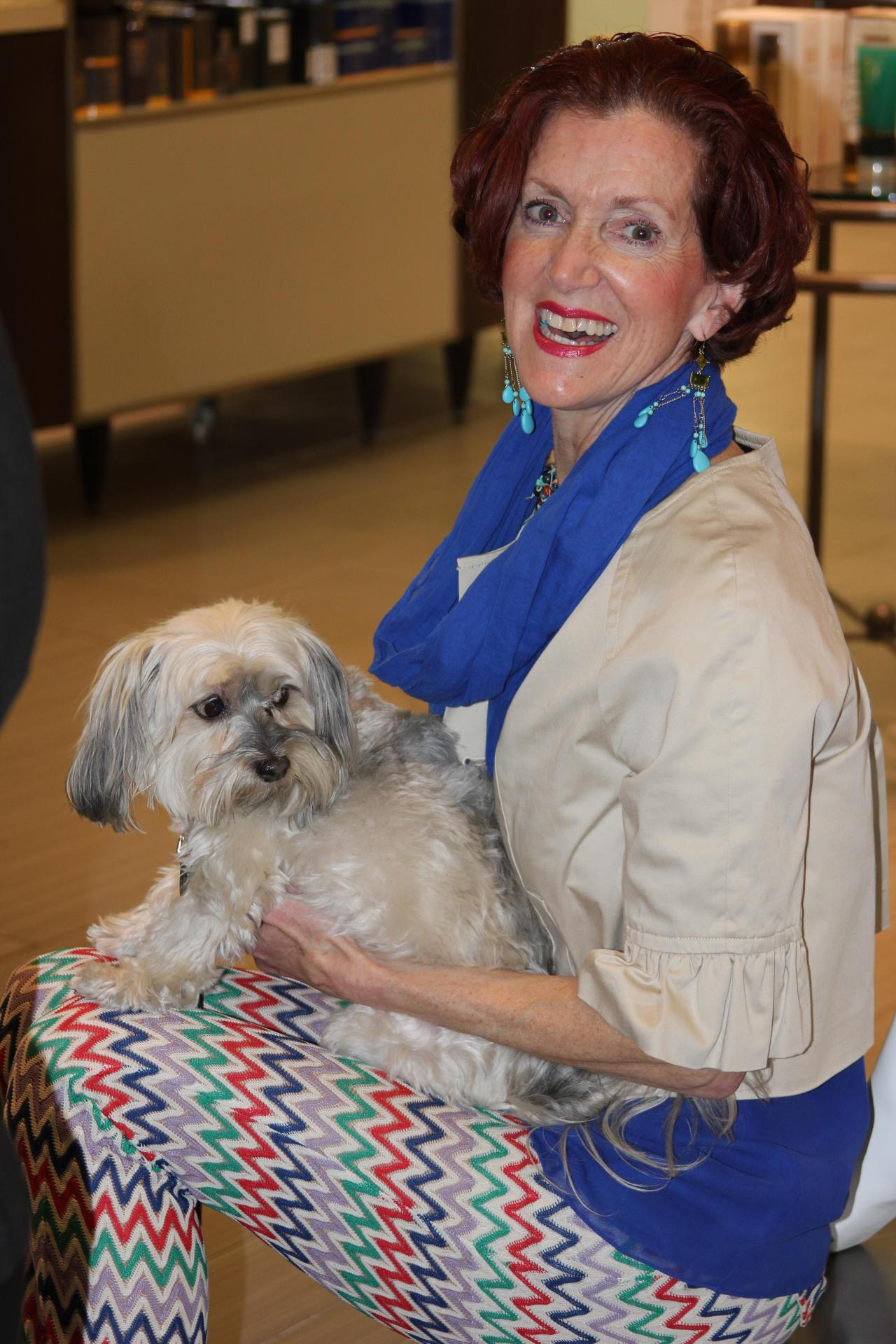 Sophie (doggy of Lola and Sophie) adored all of the attention at Gus Mayer!