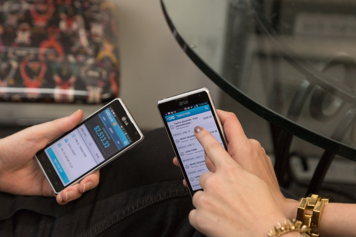 Designers using their GoBank smartphone apps at Mood!  Image provided by The Weinstein Company.