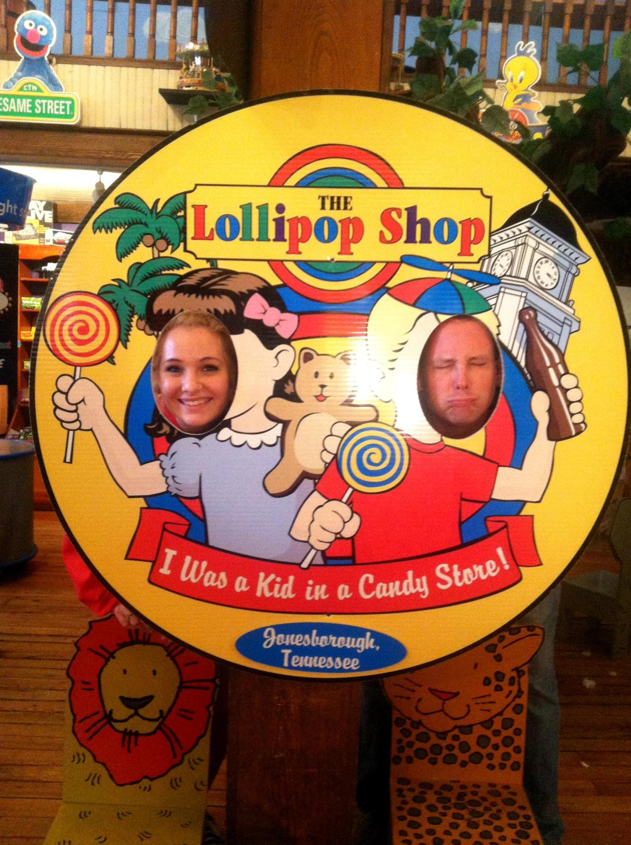 After having lunch at The General Store, the VIP team stopped at The Lollipop Shop for dessert. It was such a super cute store with lots of candy options.  Note: Leave it to my deddy to act ridiculous in every picture *wink*...but I must admit this was too funny! haha