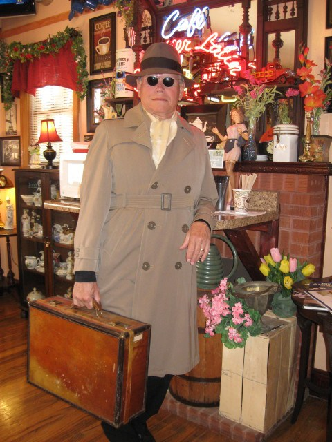 One of my favorites Sid Caradine, aka Captain Sid, sporting his vintage Hartmann luggage that once belonged to his grandfather, R. Sidney Caradine.