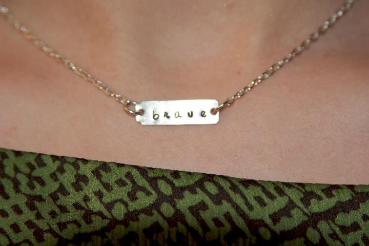 "Hand stamped ""brave"" necklace by Lisa Hamilton of Beadsoul."