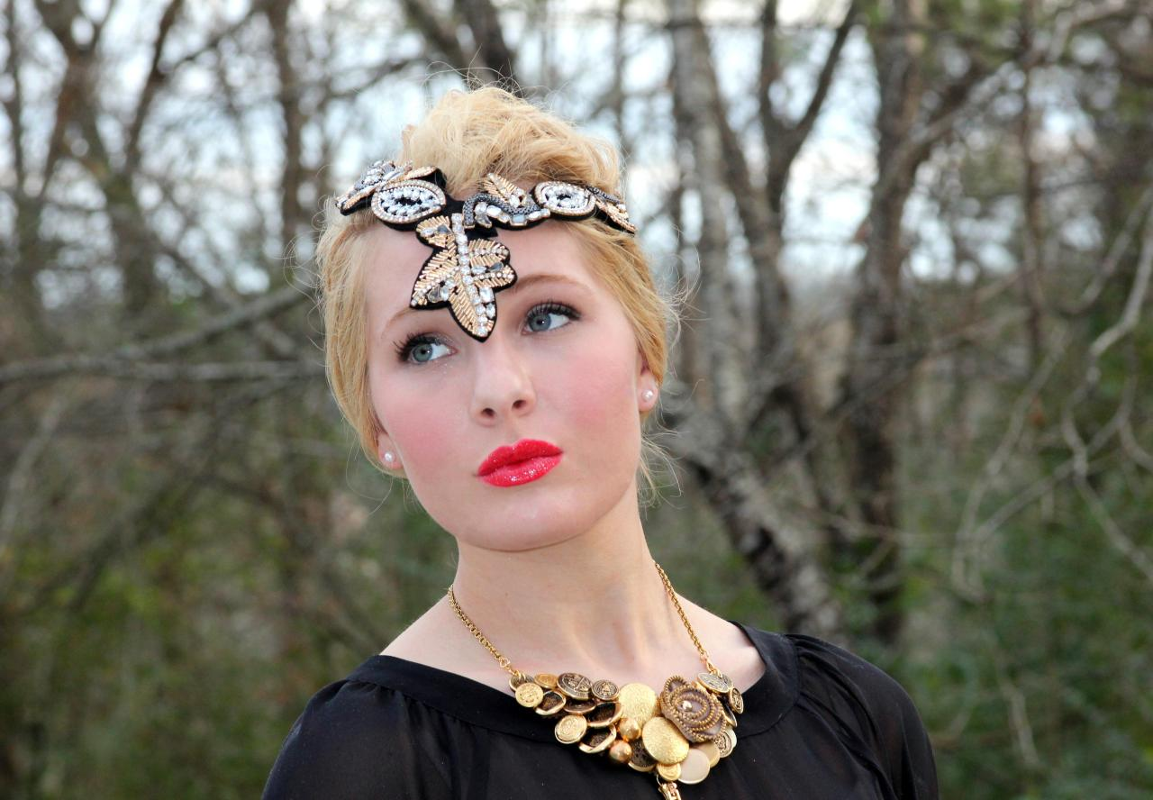 Necklace: handmade by BluKat Design (Heather O'Cain) from my grandmother's buttons.  Headpiece: Necklace from Avon