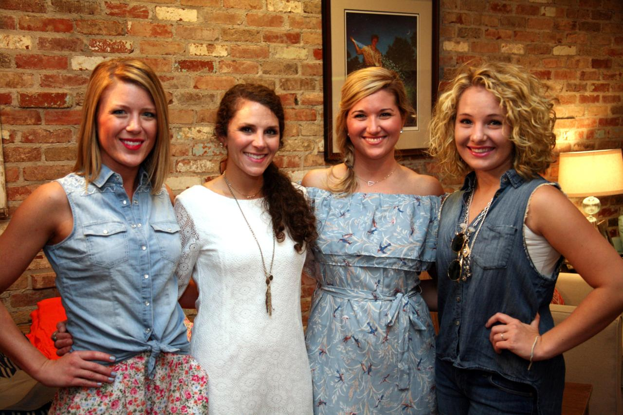 (From left to right) April Moore, Courtni Tyre, Melissa Grimes, and the VIP at a three07 sale last summer. Oh, I just love these girls and their clothing line! So fabulous!