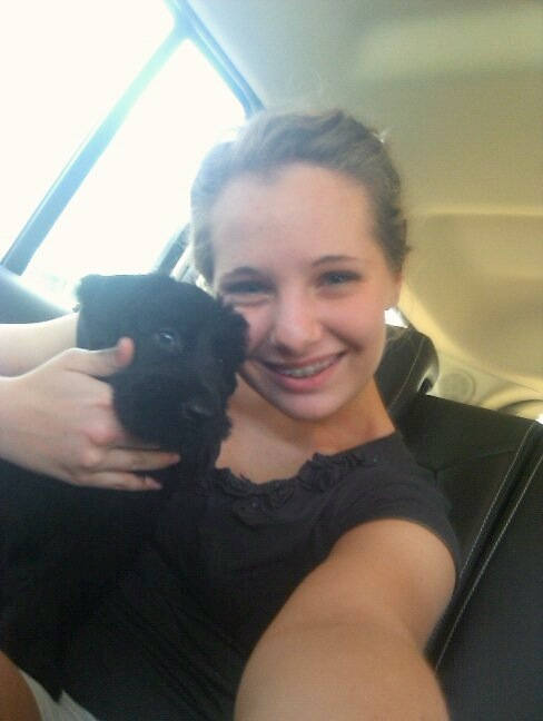 Ziva and I the day we picked her up. Look how small she was! Oh, it is hard to believe she was ever that tiny! haha
