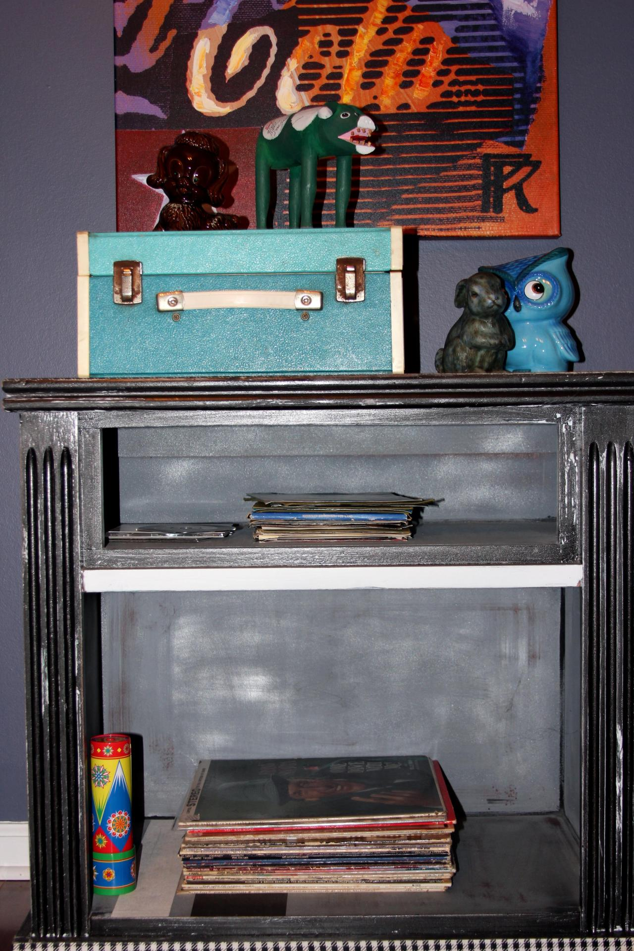 Other items noted in the photo: My personal collection of vintage records--I have picked up the variety of vinyl I have from lots of different antiquing journeys. Oh, how I love my records! The kaleidoscope--It was a gift...and kaleidoscopes are just fun no matter how old you are!