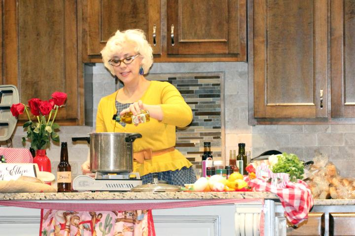 Emily Ellyn cooking up a storm at the Birmingham Home & Garden Show 2014.