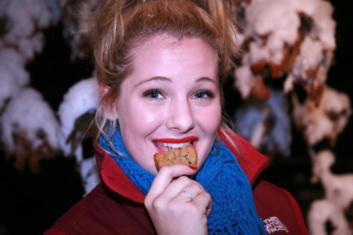 Eating chocolate chip cookies in the snow...at night. I guess I can check that off of my bucket list!