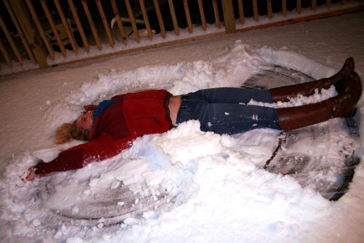 Making a snow angel...on my deck...in 3 inch snow...like a boss *wink*