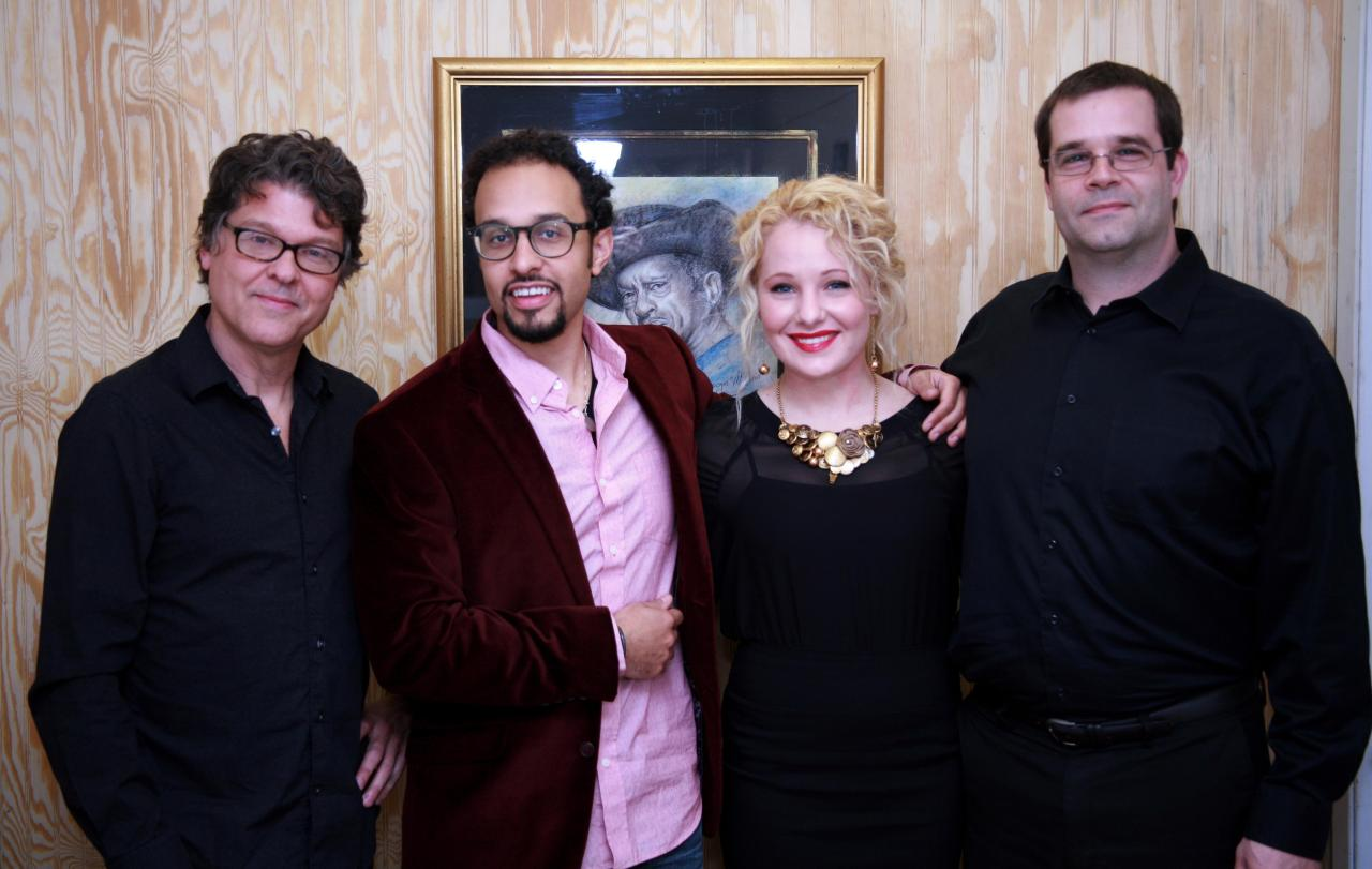The VIP with Gabriel Tajeu and band before their show at SCAC.  (From left to right) Mark Lanter, Gabriel Tajeu, Abby Hathorn, and Matt Slocum.