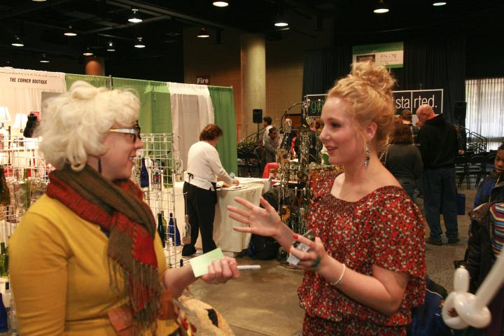 Emily Ellyn (as seen on Food Network Star Season 8 and Cupcake Wars) and I chatting about about vintage prior to the interview. We could have talked about vintage clothes all day long *wink*