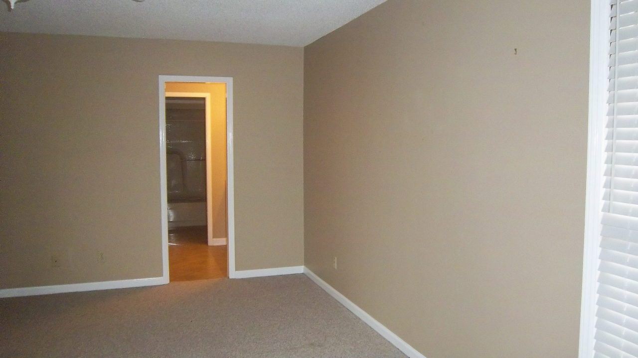 My room before was just blah. Tan carpet, tan walls, tan stick tiles in the bathroom--so much tan.