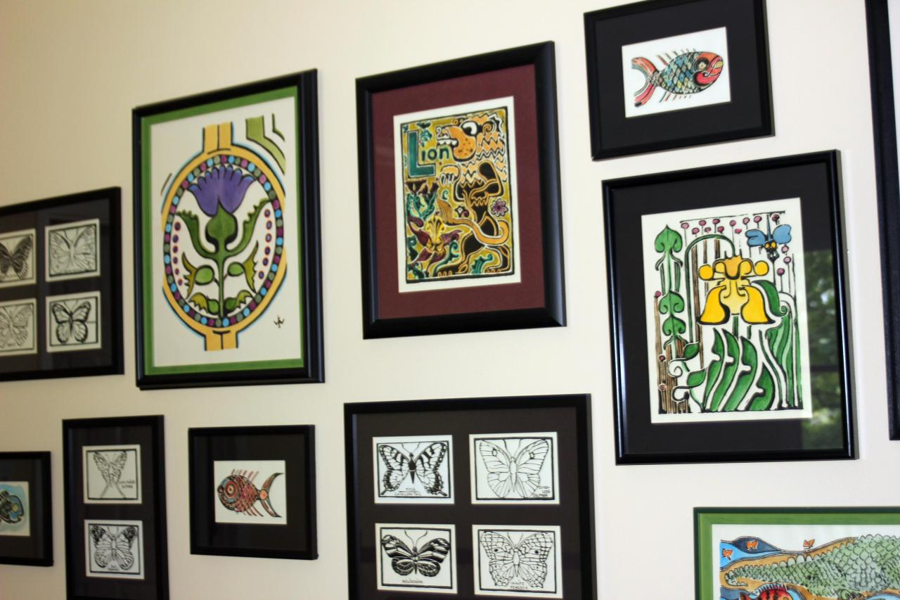 """A collage of Walter Anderson pieces at our house featuring the """"L Lion"""" print."""