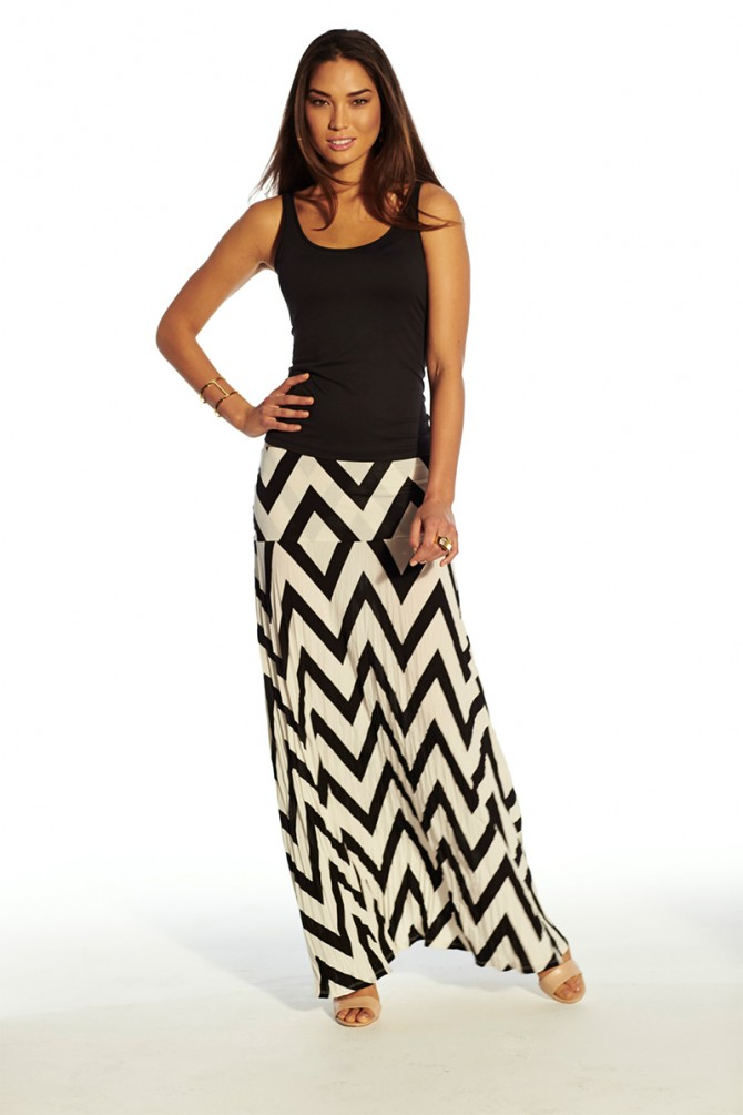 "New maxi--Not the time to skirt the issue. Find the perfect long skirt and add instant cool to your wardrobe. Gathers, slits and ""Oh, wow!"" prints guarantee the update."