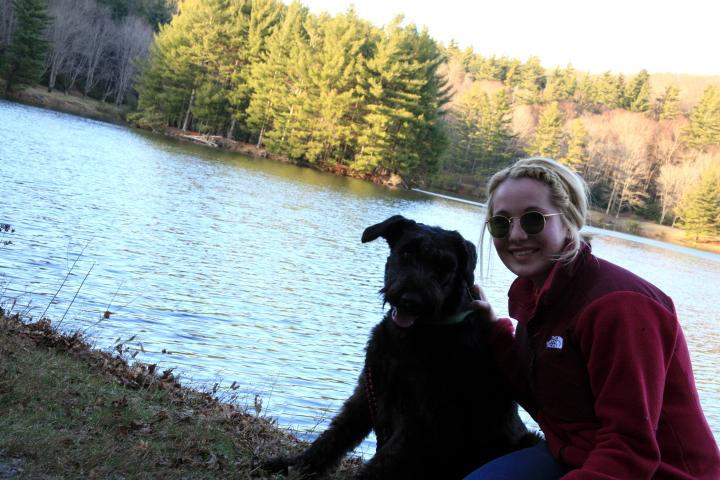 My Giant Schnauzer, Ziva, and I at Bass Lake.