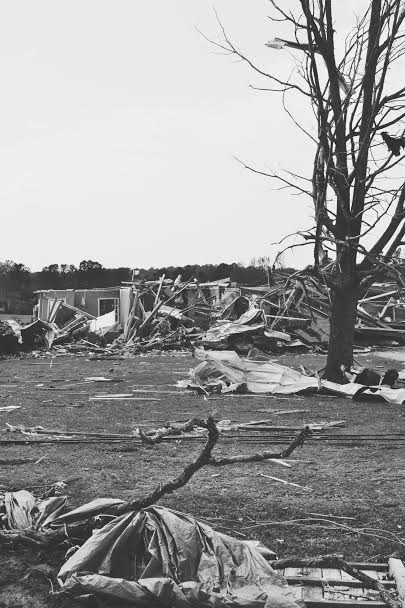 Photo Credit: Amberle Rogers  A black and white photo of the unbelievable damage by Amberle Rogers.