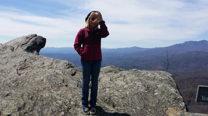 It was quite blustery at the top of The Blowing Rock...*note: wear hair in a cute pony tail next time*