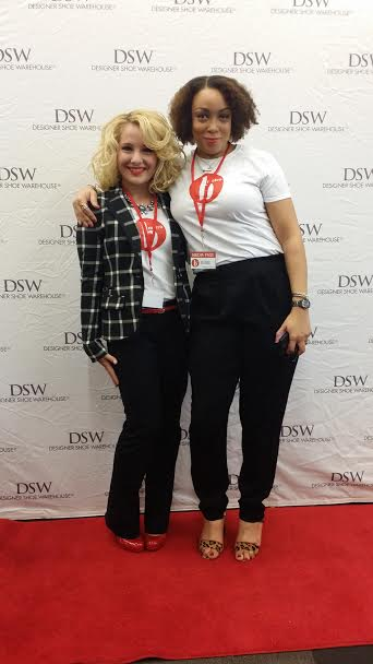 My curly-headed, fashion blogger friend Erica Bunker and I at the DSW red carpet! Don't we look super fierce!