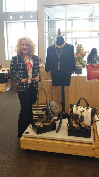 A trendy twist on a fabulous classic! I wanted to take home the black and gold looks I live-styled! Hm...DSW shopping trip? I think yes! *wink*