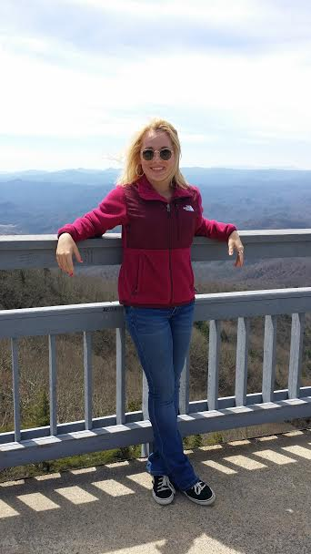Chilling at The Blowing Rock with Grandfather Mountain and Grandmother Mountain in the background.