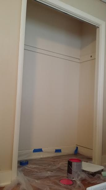 The closet, which is soon to be my new office, prior to painting.