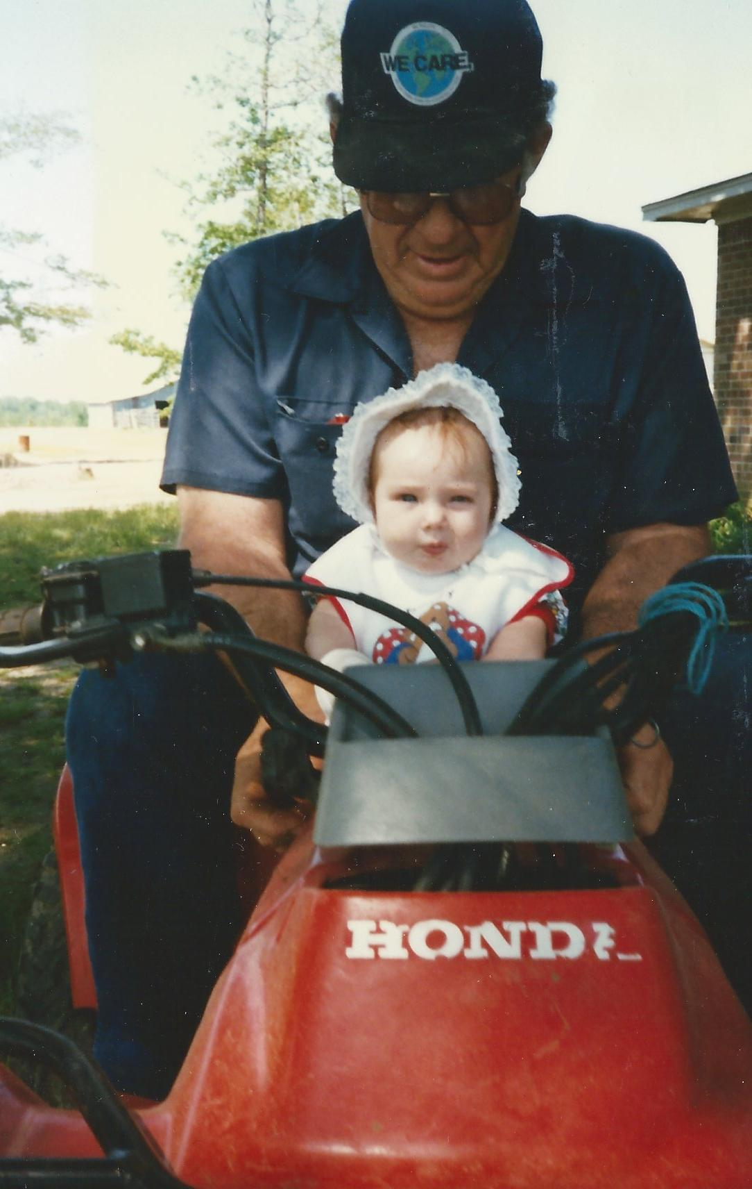Here is a throwback for y'all--this is Paw Riley and I was just a wee thing. Man, I wish I could still work a bonnet like that *wink*