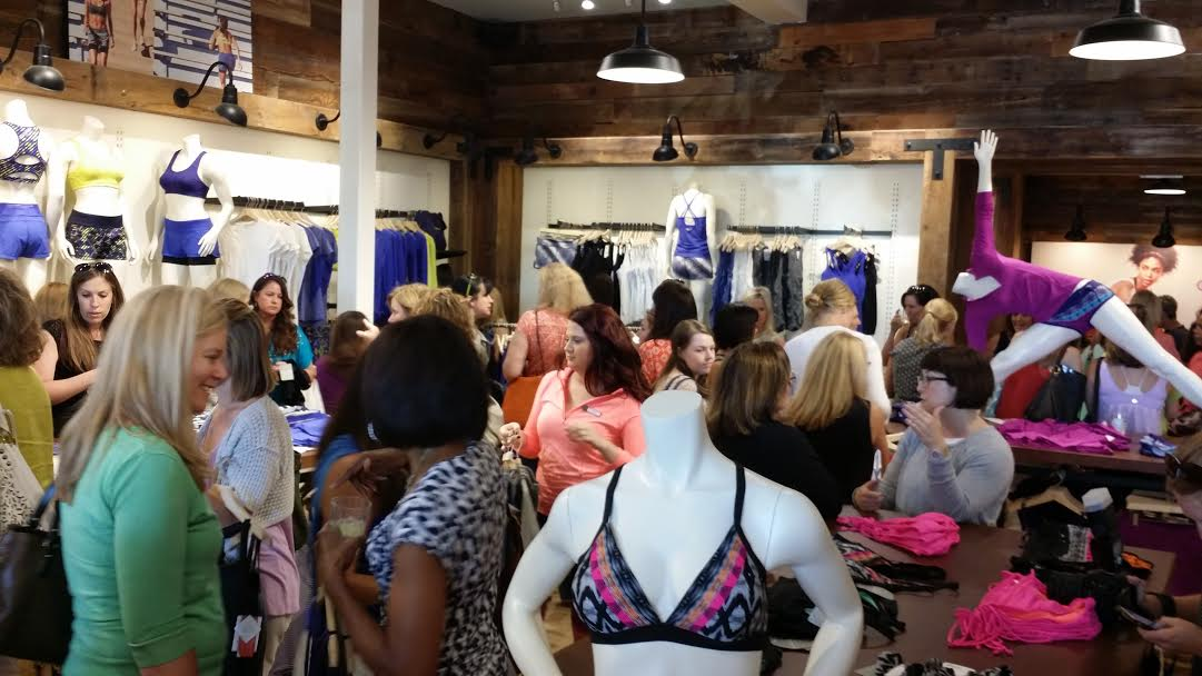 I spy a cute bikini top peaking out of the crowd at the Athleta Preview Party *wink*