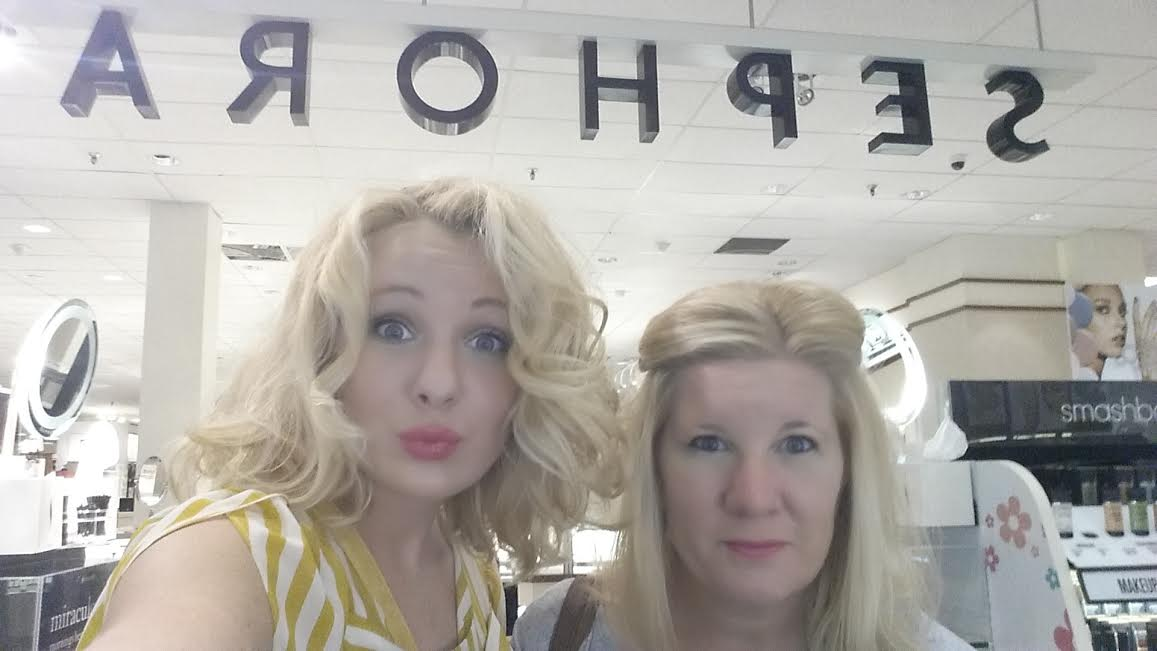Mom and I totally failed at our attempt to get the Sephora sign in our selfie...our luck--it's backwards *wink*