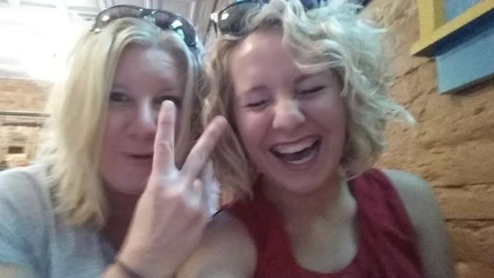My mom and I being our typical selves--she is throwing a peace sign, and I am...well...being silly as per usual.