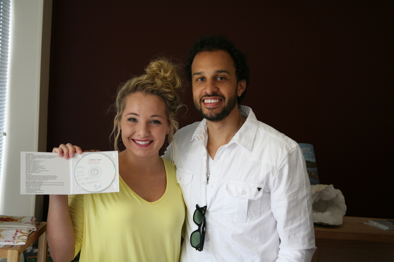 "Also this time last year, the VIP was interviewing R&B singer Gabriel Tajeu. In this photo, the VIP is holding an autographed copy of Gabriel's first album ""Finding My Way"". Pst....special secret...Gabriel Tajeu is currently recording his next album that will feature the VIP's favorite Gabriel Tajeu song ""Southern Skies""."