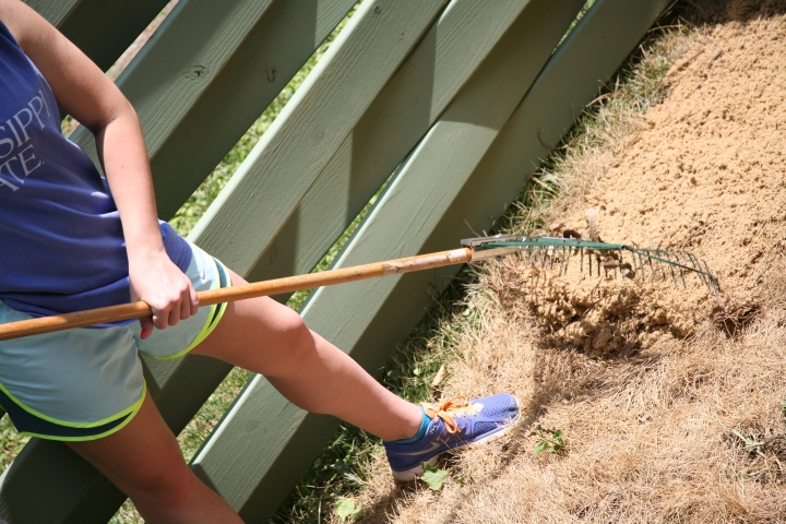 """TIP (part two): """"Fluff"""" the sand and rid footprints with a yard or leaf rake before beginning to lay concrete pavers."""