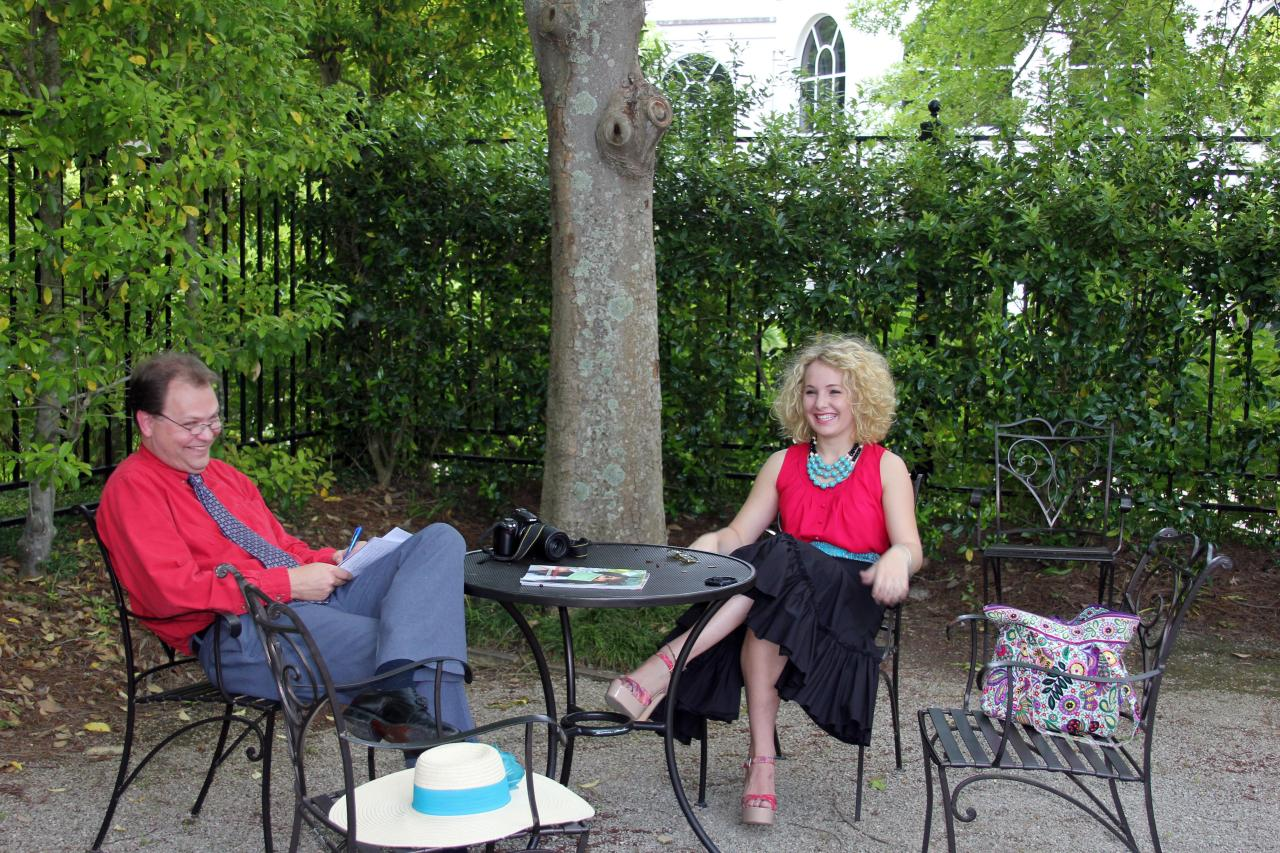 My being interviewed at the Birmingham Botanical Gardens by writer and The Cobalt Club blogger Buddy Roberts.