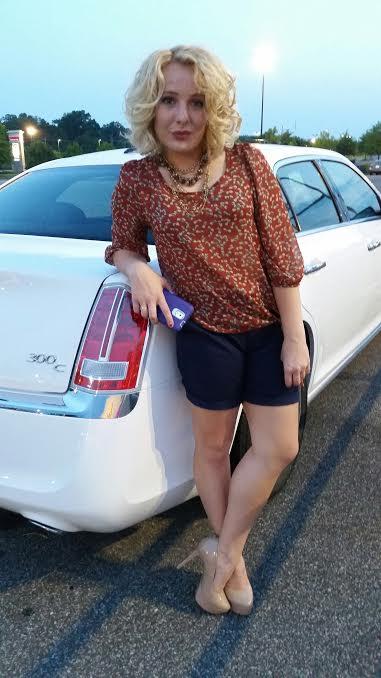 Blouse: Deep South Pout Shorts: GAP Heels: Jessica Simpson, Belk