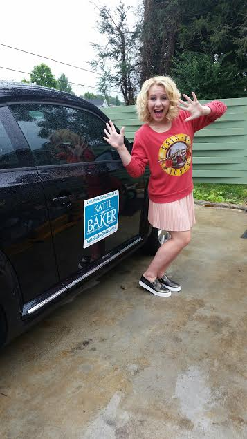 Next, Leo (my car) and I represented Katie Baker and her campaign while driving around Johnson City. Go, Katie! Go! *wink*
