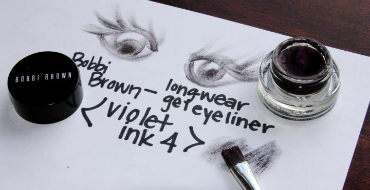 """To line the eyes, I decided to mix things up and swap my normal gray eyeliner for Bobbi Brown's Long-Wear Gel Eyeliner in """"Violet Ink 4"""". The deep purple hue really made the bronze-colored eye cremes POP!"""