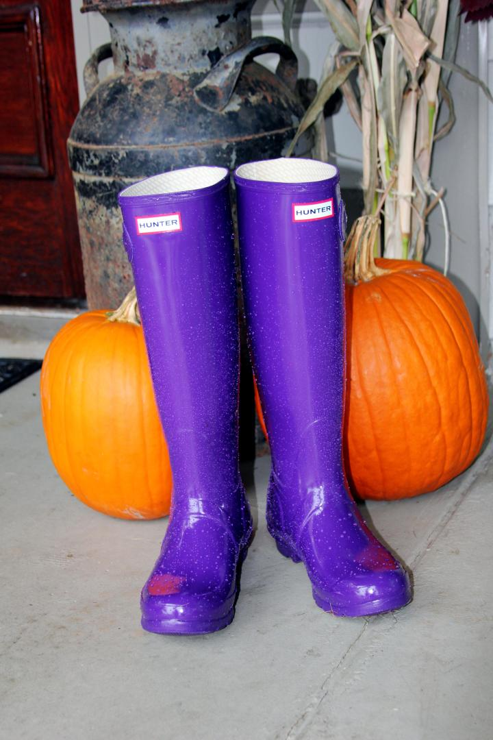 Oh, my purple Hunters with the bright orange pumpkins is so cute and inspiring! Now, I am ready for some fall rain showers *wink*