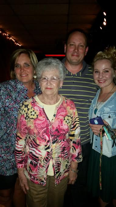 "*from left to right* My aunt Karen, Deddy, Gran, and me. Oh, we had so much fun at the John Cowan concert Friday night. My aunt Karen is a total ""fan girl"" and introduced us to the awesomeness of John Cowan. :)"