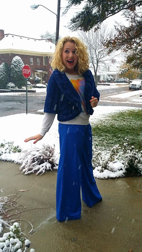 P.S.--I am still having a hard time with the fact it snowed in November. This Mississippi-raised gal is not used to snow...much less on the first of November! BUT it was a good excuse to wear my blue fur shawl *wink*