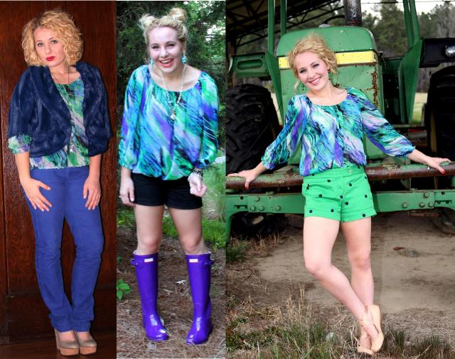 Here are two previous ways I have worn my water color blouse + it featured in a brand new outfit! Naturally, this top lends itself to be more springy; however, I love it so much that I decided to challenge myself to style it for winter...styling success :)  Rain Boots: http://sixteenandsuccessful.org/2014/08/20/surviving-rainy-days-on-campus-tips-outfit-details/ Dot Shorts: http://vintageinspiredpassionista.com/2014/05/04/i-was-born-in-a-small-town-grew-up-in-a-small-town/